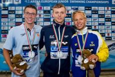 Podium 1500 Freestyle Men Final LEN 43rd Arena European Junior Swimming Championships Hodmezovasarhely, Hungary Day02 07-07-2016 Photo Andrea Masini/Deepbluemedia/Insidefoto