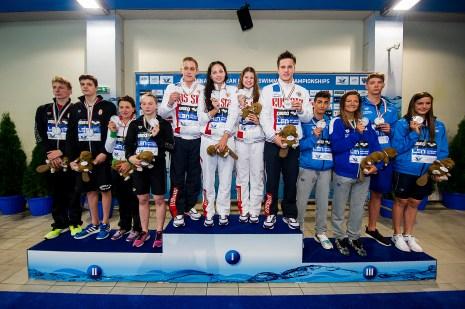 Podium 4X100 Freestyle Mixed Final LEN 43rd Arena European Junior Swimming Championships Hodmezovasarhely, Hungary Day02 07-07-2016 Photo Andrea Masini/Deepbluemedia/Insidefoto