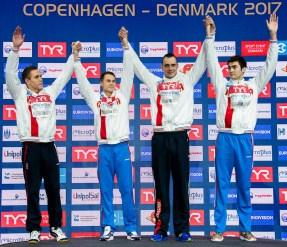 RUSSIA Team Gold Medal 4x50m Men Freestyle Final Copenhagen 13-12-2017 Royal Arena LEN European Short Course Swimming Championships - Campionati Europei nuoto vasca corta Foto © Giorgio Scala / Deepbluemedia