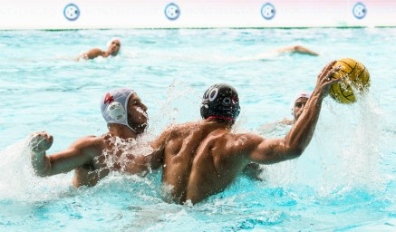 Olympiacos (white cap) vs Spandau (blue cap) GENIDOUNIAS Konstantinos, KUEPPERS Lukas LEN Champions League Final Eight 2018 Piscina Sciorba Genova Italy Photo © G.Scala/Deepbluemedia/inside