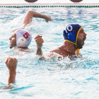 Olympiakos (white cap) vs Barceloneta (blue cap) 10 PERRONE ROCHA Felipe LEN Champions League Final Eight 2018 08/06/2018 SemiFinal 5-8 Piscina Sciorba Genova Italy Photo © G.Scala/Deepbluemedia/inside
