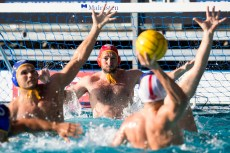 Olympiakos (white cap) vs Barceloneta (blue cap) 1 LOPEZ PINEDO Daniel LEN Champions League Final Eight 2018 08/06/2018 SemiFinal 5-8 Piscina Sciorba Genova Italy Photo © G.Scala/Deepbluemedia/inside