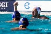 Olympiakos (white cap) vs Barceloneta (blue cap) 8 BUSLJE Andro LEN Champions League Final Eight 2018 08/06/2018 SemiFinal 5-8 Piscina Sciorba Genova Italy Photo © G.Scala/Deepbluemedia/inside