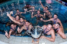 Olympiacos celebrating the Champions League victory Final Olympiacos Piraeus (White Cap) Vs. l Pro Recco (Blue Cap) LEN Champions League Final Eight 2018 Piscina Sciorba Genova Italy Photo © G.Scala/Deepbluemedia/inside