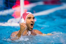 Olympiacos (white cap) vs Pro Recco (blue cap) 1 PAVIC Josip LEN Champions League Final Eight 2018 09/06/2018 Final Piscina Sciorba Genova Italy Photo © G.Scala/Deepbluemedia/inside