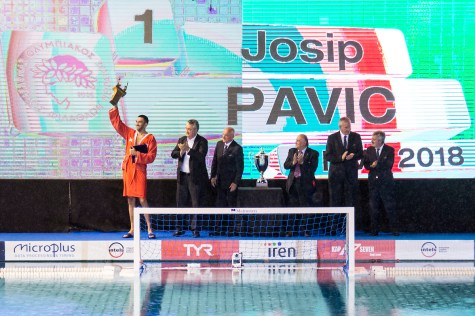 Olympiacos (white cap) vs Pro Recco (blue cap) 1 PAVIC Josip Best Player LEN Champions League Final Eight 2018 09/06/2018 Final Piscina Sciorba Genova Italy Photo © G.Scala/Deepbluemedia/inside