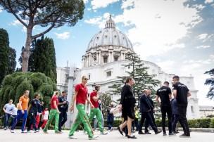 Citta' del Vaticano 28-06-2018 Gli atleti partecipanti al Settecolli di Roma in udienza dal Papa FIN 55 Trofeo Sette Colli 2018 Internazionali d'Italia Photo Deepbluemedia