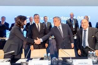 LEN Bureau, Antonio Tajani President of EU Parliament, Paolo Barelli LEN President LEN Congress 2018 Budapest Hungay Photo © G.Scala/Deepbluemedia/inside