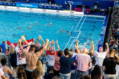 Supporters SRB - CRO Serbia (white caps) vs Croatia (blue caps) Semi Final Men Barcelona 26/07/18 Piscines Bernat Picornell 33rd LEN European Water Polo Championships - Barcelona 2018 Photo Giorgio Scala/Deepbluemedia/Insidefoto
