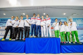 Podium Russian Federation RUS Gold Medal Team Germany GER Silver Medal Team Hungary Bronze Medal 4X100 Freestyle Mixed Relay Finals LEN 45th European Junior Swimming Championships Helsinki, Finland Mäkelänrinne Swimming Centre Day02 05-07-2018 Photo Andrea Masini/Deepbluemedia/Insidefoto