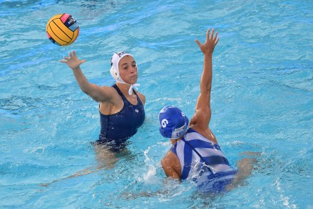 MILLOT Estelle FRA, AVRAMIDOU Alkistis GRE FRA - GRE France (white caps) vs. GREECE (blue caps) Barcelona 14/07/2018 Piscines Bernat Picornell Women qualification 33rd LEN European Water Polo Championships - Barcelona 2018 Photo Andrea Staccioli/Deepbluemedia/Insidefoto