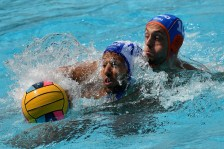 12 VLACHOPOULOS Angelos GRE 10 JANSSEN Pascal NED GRE - NED Greece (white caps) vs. Netherlands (blue caps) Barcelona 18/07/2018 Piscines Bernat Picornell Men qualification 33rd LEN European Water Polo Championships - Barcelona 2018 Photo Andrea Staccioli/Deepbluemedia/Insidefoto