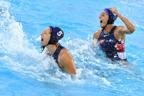 5 SZUCS Gabriella HUN 2 SZILAGYI Dorottya HUN celebration ITA - HUN Italy (white caps) vs. Hungary (blue caps) Barcelona 23/07/2018 Piscines Bernat Picornell Women Quarter Finals Qualification 33rd LEN European Water Polo Championships - Barcelona 2018 Photo Andrea Staccioli/Deepbluemedia/Insidefoto