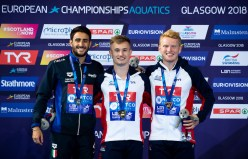 Podium : Laugher Jack GBR gold medal, Tocci Giovanni ITA siver medal, Heatly James GBR bronze medal Men's 1m springboard final Edinburgh 07/08/18 Diving Royal Commonwealth Pool LEN European Aquatics Championships 2018 European Championships 2018 Photo Giorgio Perottino / Deepbluemedia /Insidefoto