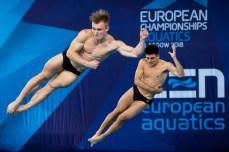 Laugher Jack GBR Mears Christopher GBR silver medal Men's 3m synchronized springboard final Edinburgh 10/08/18 Diving Royal Commonwealth Pool LEN European Aquatics Championships 2018 European Championships 2018 Photo Giorgio Perottino / Deepbluemedia /Insidefoto