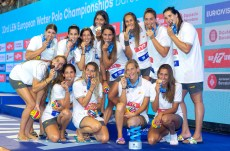 Team SPAIN Esp Third place Medal Ceremony Barcelona 27/07/2018 Piscines Bernat Picornell Women Final 1st 2nd place 33rd LEN European Water Polo Championships - Barcelona 2018 Photo Andrea Staccioli/Deepbluemedia/Insidefoto