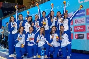 GREECE Second Silver Medal NED - GRE Netherlands (white caps) vs. Greece (blue caps) Barcelona 27/07/2018 Piscines Bernat Picornell Women Final 1st 2nd place 33rd LEN European Water Polo Championships - Barcelona 2018 Photo Andrea Staccioli/Deepbluemedia/Insidefoto