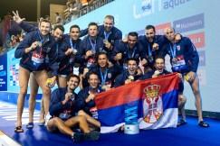 Team SERBIA Gold Barcelona 28/07/2018 Piscines Bernat Picornell Men Medal Ceremony 33rd LEN European Water Polo Championships - Barcelona 2018 Photo Andrea Staccioli/Deepbluemedia/Insidefoto