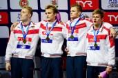 4x100 freestyle relay men medal ceremony LEN European Swimming Junior Championships 2019 Aquatic Palace Kazan Day1 03/07/2019 Photo G.Scala/Deepbluemedia/Insidefoto