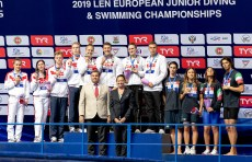(L to R) RUSSIA, GERMANY, ITALY 4x100 freestyle relay mixed Medal ceremony LEN European Swimming Junior Championships 2019 Aquatic Palace Kazan Day2 04/07/2019 Photo G.Scala/Deepbluemedia/Insidefoto