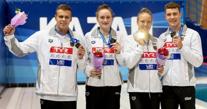 GERMANY gold medal 4x100 freestyle relay mixed Medal ceremony LEN European Swimming Junior Championships 2019 Aquatic Palace Kazan Day2 04/07/2019 Photo G.Scala/Deepbluemedia/Insidefoto