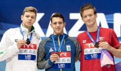 200 butterfly men medal ceremony LEN European Swimming Junior Championships 2019 Aquatic Palace Kazan Day 3 05/07/2019 Photo G.Scala/Deepbluemedia/Insidefoto