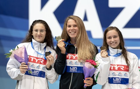 1500 freestyle women medal ceremony LEN European Swimming Junior Championships 2019 Aquatic Palace Kazan Day 3 05/07/2019 Photo G.Scala/Deepbluemedia/Insidefoto