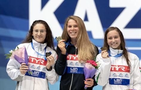 1500 freestyle women medal ceremony LEN European Swimming Junior Championships 2019 Aquatic Palace Kazan Day 3 05/07/2019 Photo G.Scala/Deepbluemedia/Insidefoto