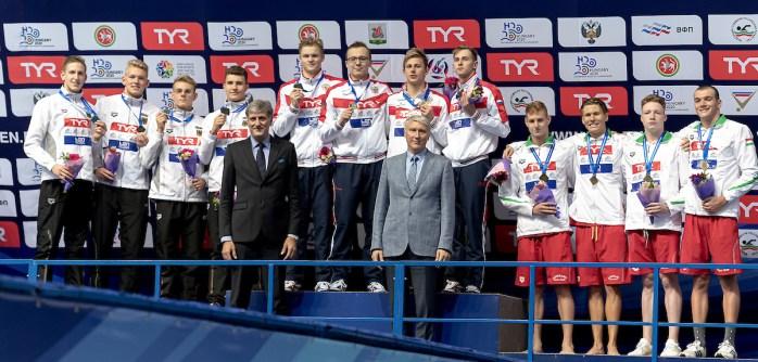 4x200 freestyle relay men medal ceremony LEN European Swimming Junior Championships 2019 Aquatic Palace Kazan Day 3 05/07/2019 Photo G.Scala/Deepbluemedia/Insidefoto