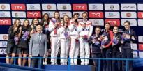 4x100 medley relay women medal ceremony LEN European Swimming Junior Championships 2019 Aquatic Palace Kazan Day 3 05/07/2019 Photo G.Scala/Deepbluemedia/Insidefoto