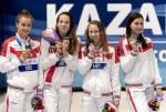 Russia 4x100 medley relay women medal ceremony LEN European Swimming Junior Championships 2019 Aquatic Palace Kazan Day 3 05/07/2019 Photo G.Scala/Deepbluemedia/Insidefoto