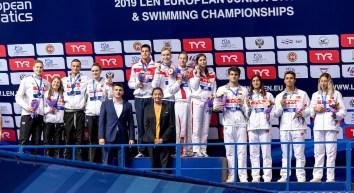 (L to R) GERMANY, RUSSIA, TURKEY 4x100 medley relay mixed Medal Ceremony LEN European Swimming Junior Championships 2019 Aquatic Palace Kazan Day 4 06/07/2019 Photo G.Scala/Deepbluemedia/Insidefoto