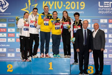 (L to R) Germany silver medal, Ukraina gold medal, Switzerland bronze medal Kyiv, Ukraine UKR 06/08/2019 Diving 3 meters springboard Synchro Mixed Len European Diving Championships 2019 Sport Arena Liko Kyiv, Ukraine Photo © Giorgio Scala / Deepbluemedia / Insidefoto