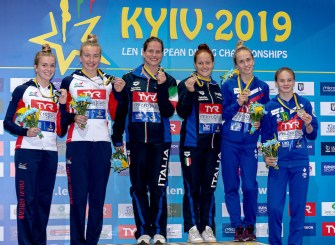 (L to R) BANKS PHOEBE, MARTIN EMILYGBR Great BrItain Silver Medal, BATKI NOEMI, PELLACANI CHIARA ITA Italy Gold Medal, BELIAEVA EKATERINA, TIMOSHININA IULIIA RUS Russia BRONZE Medal Kyiv, Ukraine UKR 07/08/2019 Diving 10 meters platform synchro women podium Len European Diving Championships 2019 Sport Arena Liko Kyiv, Ukraine Photo © Giorgio Scala / Deepbluemedia / Insidefoto