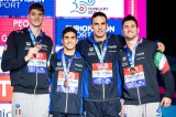 Team Italy Bronze Medal 4x50 freestyle relay men Final Glasgow 04/12/2019 XX LEN European Short Course Swimming Championships 2019 Tollcross International Swimming Centre Photo Giorgio Scala / Deepbluemedia / Insidefoto