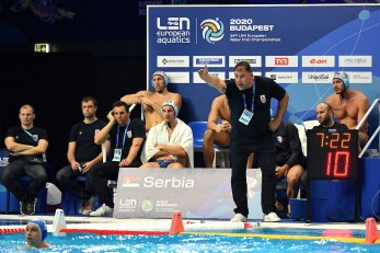 Team SRB Serbia Semi-finals 5th -8th SRB - Serbia (white caps) Vs. GRE - Greece (blue caps) Men Budapest 24/01/2020 Duna Arena XXXIV LEN European Water Polo Championships 2020 Photo ©Pasquale Mesiano / Deepbluemedia / Insidefoto