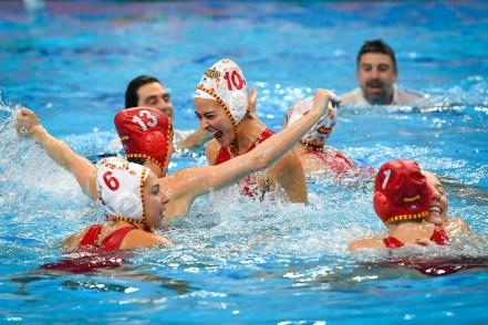 Spain ESP celebration ESP - Spain (white caps) Vs. RUS Russia (blue caps) Women Budapest 25/01/2020 Duna Arena XXXIV LEN European Water Polo Championships 2020 Photo ©Pasquale Mesiano / Deepbluemedia / Insidefoto
