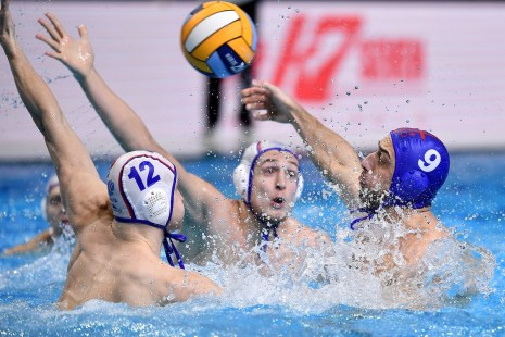 12 SHEPELEV Roman Russia, 9 RURUA Zurab Georgia Budapest 20/01/2020 Duna Arena RUSSIA (white caps) Vs. GEORGIA (blue caps) Men XXXIV LEN European Water Polo Championships 2020 Photo © Andrea Staccioli / Deepbluemedia / Insidefoto
