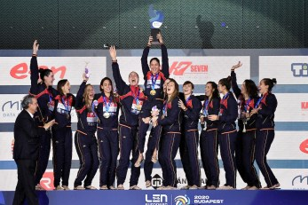 SPAIN ESP Gold Medal RUSSIA RUS Silver Medal HUNGARY HUN Bronze Medal Budapest 25/01/2020 Duna Arena Women Medal Ceremony XXXIV LEN European Water Polo Championships 2020 Photo © Andrea Staccioli / Deepbluemedia / Insidefoto