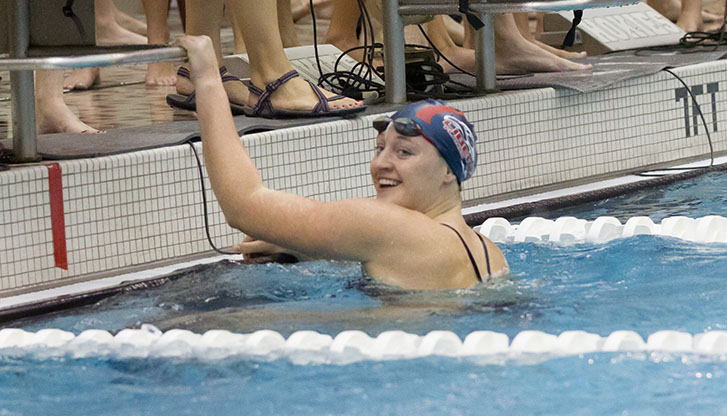 Lady Flames Defeat JMU, Radford at VT Swimming Challenge. October 12, 2013. (Photo by Les Schofer)