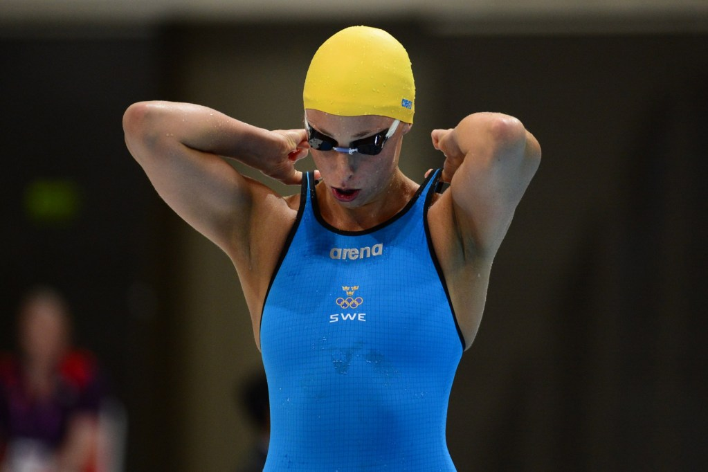 Jul 29, 2012; London, United Kingdom; Jennie Johansson (SWE) adjusts her suit before the women's 100m breaststroke semifinals during the London 2012 Olympic Games at Aquatics Centre. Mandatory Credit: Kyle Terada-USA TODAY Sports