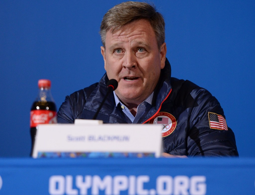 Feb 6, 2014; Sochi, RUSSIA; USOC chief executive officer Scott Blackmun addresses the media in a USOC leadership press conference during the Sochi 2014 Olympic Winter Games at Main Press Center-Pushkin Hall. Mandatory Credit: Kyle Terada-USA TODAY Sports