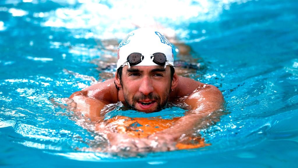 Jun 21, 2014; Santa Clara, CA, USA; Michael Phelps in the warm up pool before the championship finals at George F. Haines International Aquatic Center. Mandatory Credit: Bob Stanton-USA TODAY Sports