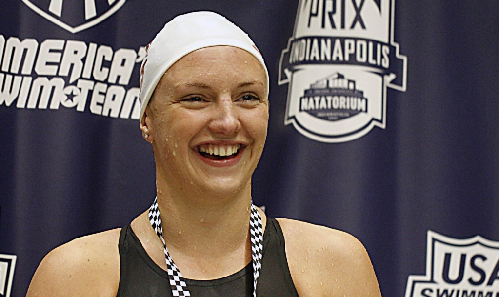 Mar 31, 2012; Indianapolis, IN, USA; Katinka Hosszu wins the women's 200 meter butterfly during the championship final at the Indianapolis Grand Prix at the Indiana University Natatorium. Mandatory Credit: Brian Spurlock-USA TODAY Sports