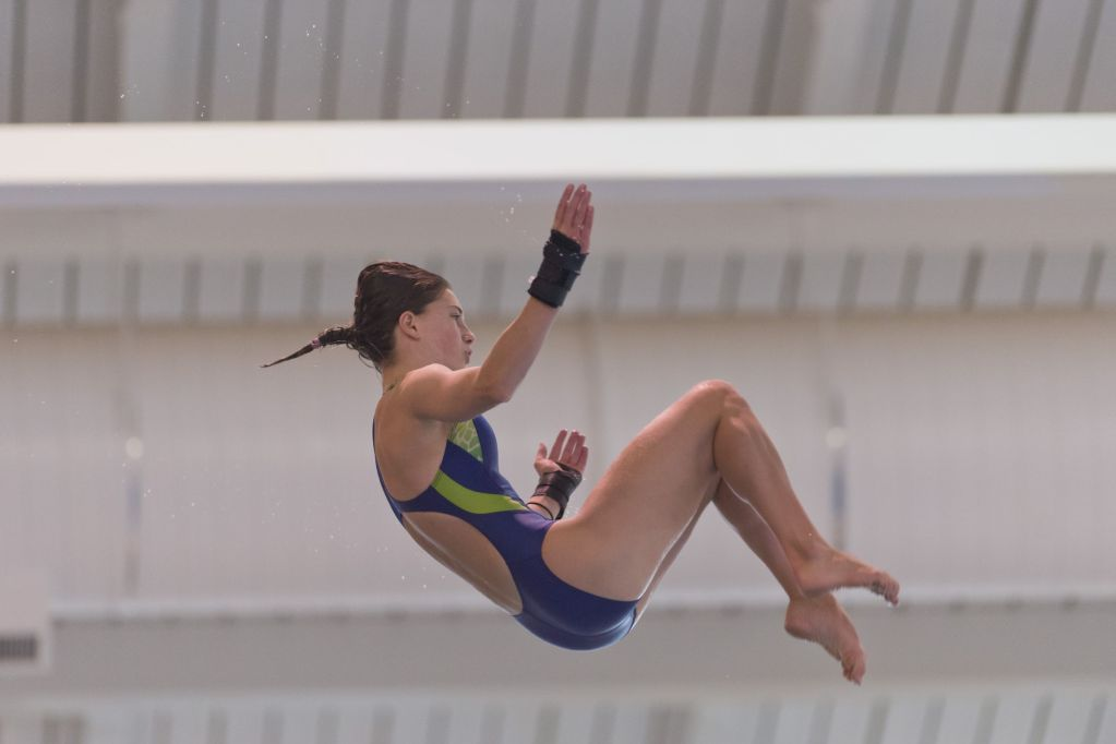 KNOXVILLE, TN - August 16, 2014: Olivia Rosendahl during the 2014 USA Senior Diving National Event at Allan Jones Aquatic Center in Knoxville, TN. Photo By Matthew S. DeMaria
