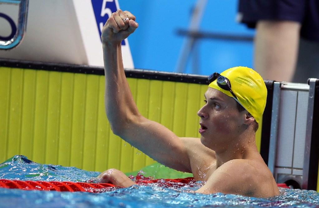 (140817) -- Nanjing,Aug 17,2014 (Xinhua) -- Gold medalist Mykhailo Romanchuk of Ukraine celebrates in the final of Men's 400m Freestyle of Nanjing 2014 Youth Olympic Games in Nanjing, capital of east China?s Jiangsu Province, on Aug. 17, 2014. (Xinhua/Fei Maohua) (txt)