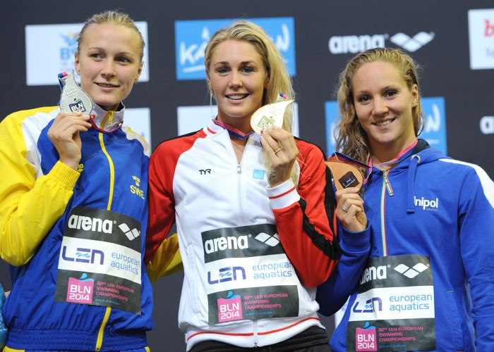 Sarah Sjoestroem Sweden Bronze Medal, Jeanette Ottesen Denmark Gold Medal, Ilaria Bianchi Silver Medal 100m Butterfly Final Swimming 32nd LEN European Championships Berlin, Germany 2014 Aug.13 th - Aug. 24 th Day10 - Aug. 22 Photo Andrea Staccioli/Deepbluemedia/Insidefoto