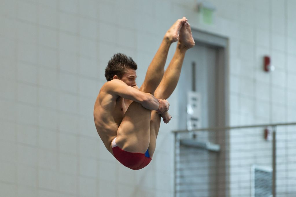 KNOXVILLE, TN - August 16, 2014: Zachary Nees during the 2014 USA Senior Diving National Event at Allan Jones Aquatic Center in Knoxville, TN. Photo By Matthew S. DeMaria
