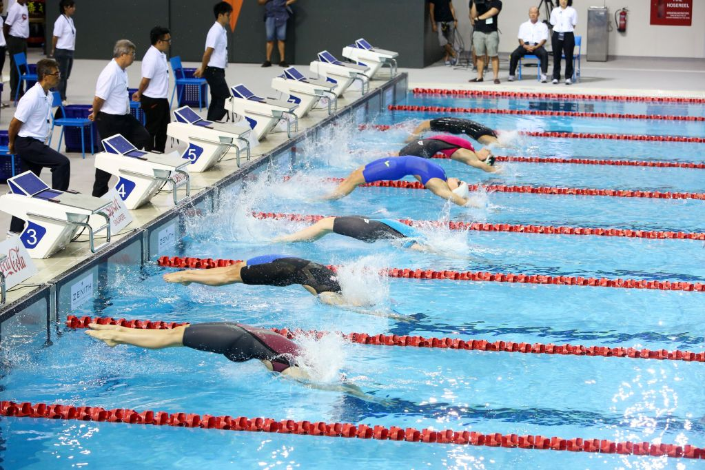 Swimming - Prudential Singapore Swim Stars 2014 - OCBC Aquatic Centre, Singapore Sports Hub, Singapore - 5/9/14 General view during the Women's 100m Backstroke Mandatory Credit: Action Images / Norman Ng Livepic EDITORIAL USE ONLY.