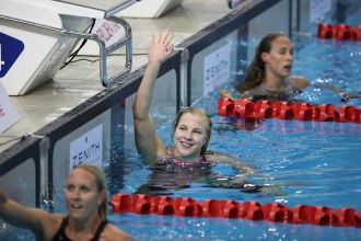 Swimming - Prudential Singapore Swim Stars 2014 - OCBC Aquatic Centre, Singapore Sports Hub, Singapore - 5/9/14 100m Breaststroke - Ruta Meilutyte of Lithuania celebrates her win Mandatory Credit: Action Images / Norman Ng Livepic EDITORIAL USE ONLY.